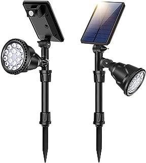 ROSHWEY Solar Spot Lights Outdoor Motion Sensor Waterproof Ground Light Wireless 360 ° Adjustable Lighting Super Bright 18 Big LED 4 Modes Security Lamp Auto On/Off 2 Pack Daylight
