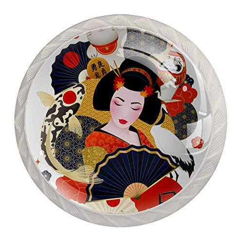 4 pomos vintage de metal para armario, cajón, puerta, tiradores de geisha japonesa coloridos carpas, gato de la suerte