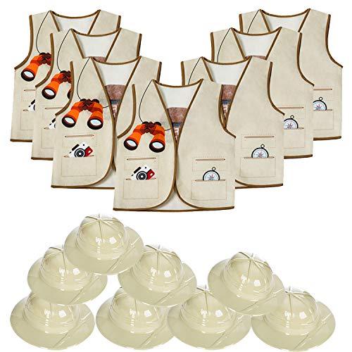 Pith Helmets - 8 Safari Hats & 8 Vests for Kids - Jungle Party Supplies - Safari Party Favors - Kids Dress Up - Tigerdoe