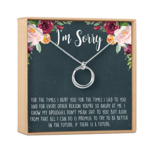 Apology Gift Necklace For Her: Gift to Say You're Sorry Best Friend, Girlfriend, Jewelry, 2 Linked Circles (silver-plated-brass, NA)