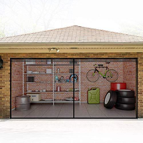 Magnetische Garagentor-Gitter 2,4 x 2,1 m Doppeltür Mesh ein Auto mit Haken und Schlaufenband, langlebige Fiberglas-Garagen-Abdeckungs-Kit Garagentor-Vorhang
