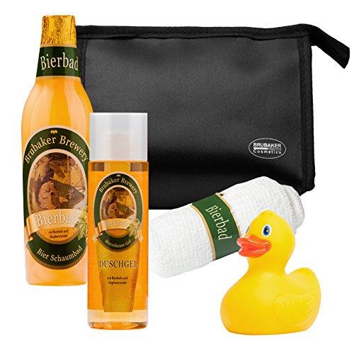 BRUBAKER Cosmetics Bier Badeset Geschenkset für Männer mit Kulturbeutel, Waschlappen und Quietscheente