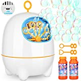 BATTOP Bubble Machine for Kids and Toddlers Automatic Bubble Maker Blower with Bubbles Solutions and 2 Bubbles Blowing Speed Levels for Parties Outdoor Indoor USB Charging Simple Easy to Use