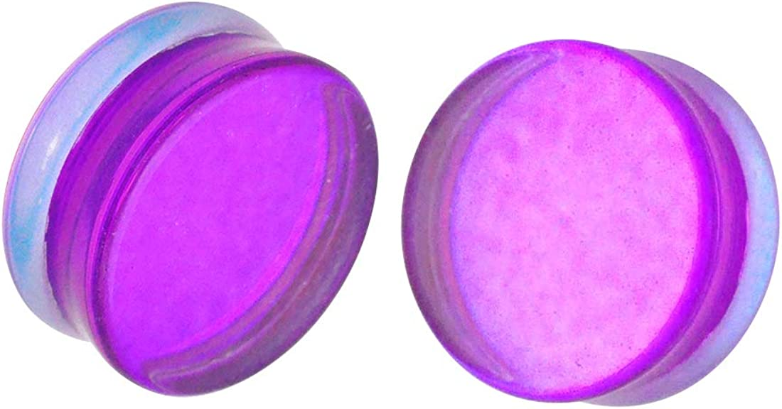 Mystic Metals Body Jewelry Pair of Purple/Aqua Iridescent Double Sided Double Flare Plugs (PG-543)