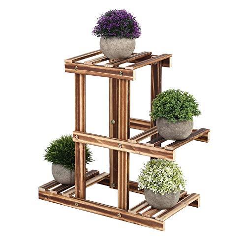 Soporte de plantas de madera, niveles múltiples Maceta de plantas Estante de exhibición Balcón Jardín Suculentas de flores Estante de interior para patio Balcón(3 tier-1)