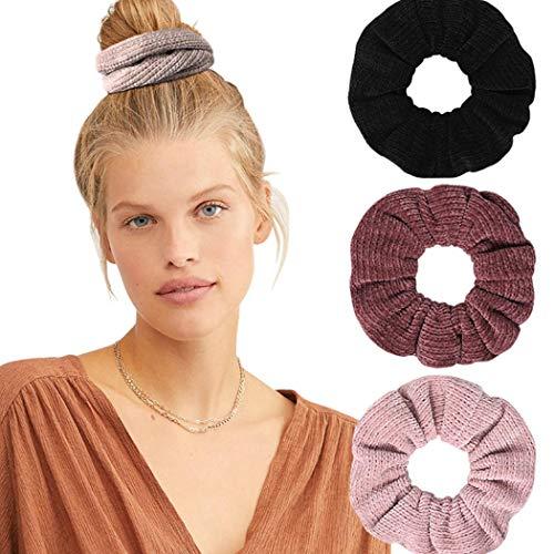 Genglass Élastiques Cheveux Chouchous Rose Vintage Cheveux Cravates Pure Color Cheveux Accessoires pour Femmes Filles Pack de 3
