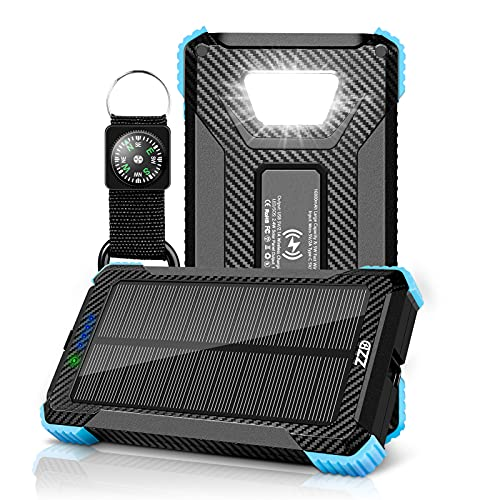 Solar Charger-16800mAh Solar Power Bank Wireless Portable Charger Quick Charge Type-C 5V Dual USB with LED Flashlight Solar Panel Charger Compatible with iOS & Android