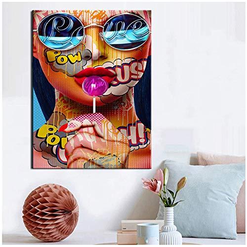 "Pinturas en lienzo HD Print Sweet Lollipop Lipstick Girl Art Vintage Kraft Posters Coated Wall Art Living Room frame Decor Gift 40x60 cm / 15.7""x 23.6"" With Frame"