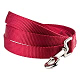 YUDOTE Nylon Dog Leads,Easy to Clean,Soft Lightweight Leash for Daily Walk with Puppies and Small Breeds, 1.5cm Wide 120cm Long, Red