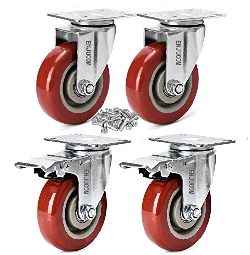 ENJUCOM 3' Swivel Caster Wheels with Safety Dual Locking Heavy Duty 1000Lbs Set of 4 (2 with Brake,2 Without Brake ), 250 LBS Per Caster (Pack of 4), with 16 Bolts & 16 Nuts