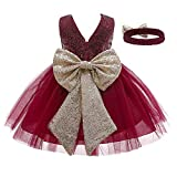 WangsCanis Vestido de bautizo para niña con lentejuelas y encaje elegante vestido de princesa con lazos para fiesta ceremonia cumpleaños 0 – 24 meses Paillettes-rosso 0-3 Meses