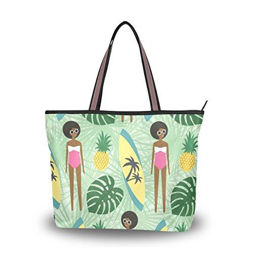Ahomy Bolso de hombro para chica africana, tabla de surf, piña, bolso...