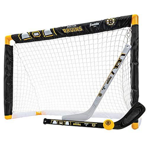 Franklin Sports NHL Team Lizenzprodukt Knie-Hockey-Set–inkl. 2Mini Hockey Sticks und One Schaum Mini Hockey Ball, Unisex, Boston Bruins
