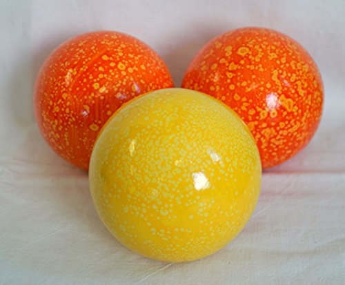 Amsick u. Sell 3er Set Gartenkugel 2X orange und 1x gelb