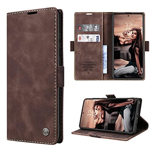 RuiPower Handyhülle für Samsung Galaxy Note 10 Lite Hülle Premium Leder PU Flip Hülle Wallet Lederhülle Klapphülle Magnetisch Silikon Bumper Schutzhülle für Samsung Note 10 Lite Tasche - Koffee