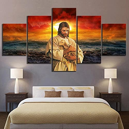 5 Panels Canvas Printing Decor Wall Art 5 Piece Canvas Wall Art Prints Pictures 5 Pieces Religious Jesus for Modern Home Decor The Room Stretched and Framed Ready to Hang