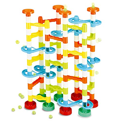 JOYIN 154Pcs Marble Run Premium Toy Set, Construction Building Blocks Toys for STEM Education (104 Plastic Pieces + 50 Glass Marbles)