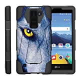 TurtleArmor | Compatible with LG K8V Case | LG K8 V Case | VS500 [Dynamic Shell] Hybrid Duo Cover Impact Absorbent Shock Silicone Layer Kickstand Hard Shell Animal - Wolf Eye