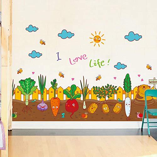 Pegatinas de pared de plantas en maceta autoadhesivas sala de estar dormitorio decoraciones de pared de cabecera pegatinas de habitación cálida-Pegatinas de cintura de huerto de dibujos animad