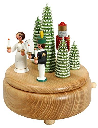 Kerstdecoratie speeldoos met engel Bergmann en notenkraker BxHxD 13x15,5 x 13 cm muziekdoos muziekdoos muziek figuur zeep Ertsgebergte hout decoratie Kerstmis