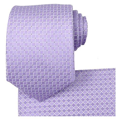 KissTies Lavender Wedding Ties Set Necktie + Pocket Square + Gift Box
