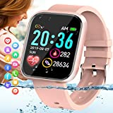 Amokeoo Smart Watch,Fitness Watch Activity Tracker with Heart Rate Blood Pressure Monitor IP67 Waterproof Bluetooth Touch Screen Android Smartwatch Sports Watch for Android iOS Phones Men Women Pink
