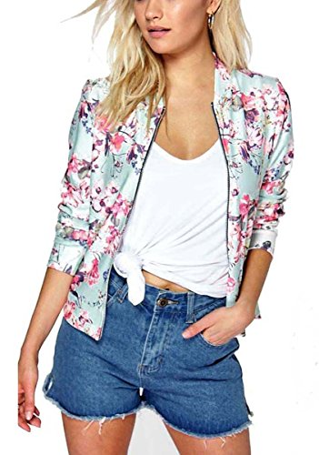 Mojessy Women's Floral Print Classic Quilted Baseball Jacket Fall Short Biker Bomber Jacket Coat(XX-Large, Pink)