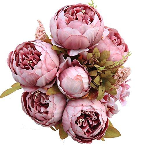 Luyue Vintage Pfingstrosen, künstlich, Seide, Blumen-Bouquet, Hochzeitsdekoration Cameo Brown