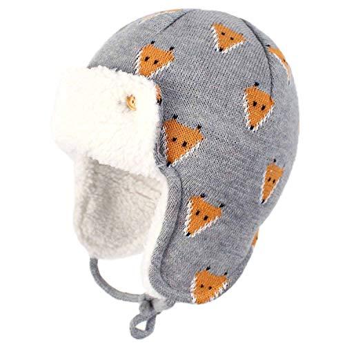 Yixda Unisex Baby Wintermütze mit Ohrenklappen Kinder Trappermütze Ski Hut (Fuchs, 1-2 Jahre)
