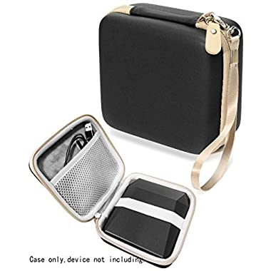 Protective Case for Fujifilm Instax SP-3 Mobile Printer by WGear, Mesh pocket for cable and printing paper (Black+Gold Zipper)