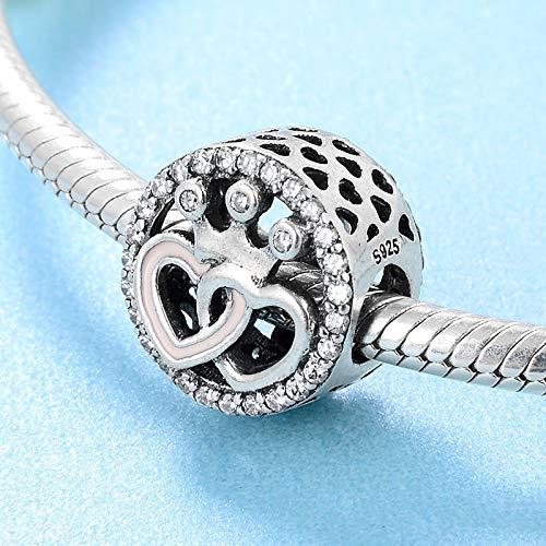 DASFF Plata de Ley 925 Dos Corazones y Cuentas de Corona Imperial Regalo de San Valentín Fit Original Charms Bracelet Jewelry