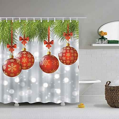 Joyeux Noël et bonne année Père Noël arbre de noël rideau de douche rideau de salle de bain avec crochet rideau de douche famille imperméable et résistant à la moisissure rideau de douche A6 180x200cm
