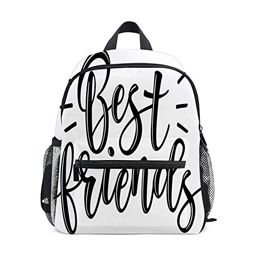 Kids Backpacks School Book Bag,Best Friends Cute Monochrome Cursive Lettering Illustration