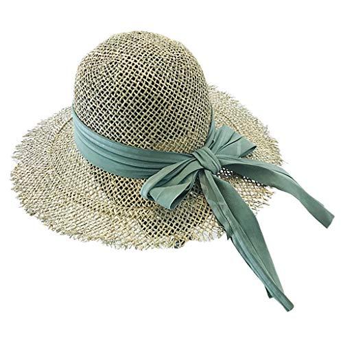 Chapéu de sol feminino vazado com borlas de palha e aba larga dobrável com laço e fita de praia para o verão com proteção UV