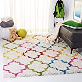 SAFAVIEH Kids Shag Collection SGK569A Rainbow Moroccan Trellis Non-Shedding Living Room Bedroom Dining Room Entryway Plush 2-inch Thick Area Rug, 4' x 6', Ivory / Multi