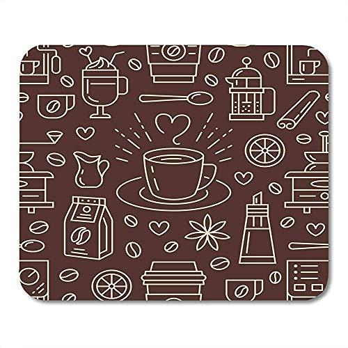 Mousepad Koffie Leuke Drankjes Hot Drinks Flat Line Koffiemaker Machine Bonen Cup Grinder Herhaald Voor Cafe Mousepad Muis Mat Kleurrijke Mousepad Game Kantoor Gedrukt Antislip Schoo