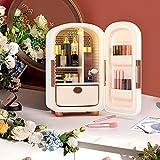 Kacsoo Mini Refrigerador 12L Mini Nevera Portátil Con Cajones Extraíbles Maquillaje Nevera 62W 220V/12V Refrigerador cosmético,para Almacenar Cosméticos Para Oficinas,Dormitorios (blanco)