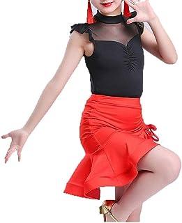 Vestido de baile de las niñas, Niñas niños Sin mangas Malla Empalme Traje de baile latino Traje Falda de tutú con top Rumb...