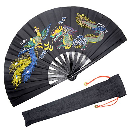 OMyTea Bamboo Large Rave Folding Hand Fan for Men/Women - Chinese Japanese Kung Fu Tai Chi Handheld Fan with Fabric Case - for Performance, Decorations, Dancing, Festival, Gift (Dragon & Phoenix)