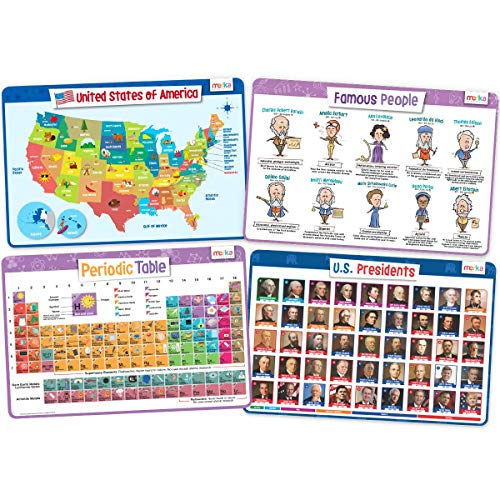 merka Kids' Educational Placemats – Reusable, Non-Slip, Silicone Plastic Mats for Kitchen Counter or Dining Table – Set of 4 Mats Featuring US Map, Famous People, The Periodic Table and US Presidents