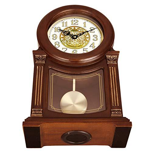 YQY Reloj Retro de la Manta de Madera, Estilo Europeo Avanzado Reloj de Mesa de Mesa de pie sin tictación para la Cocina Decoración Interior Decoraciones de la Sala de Estar