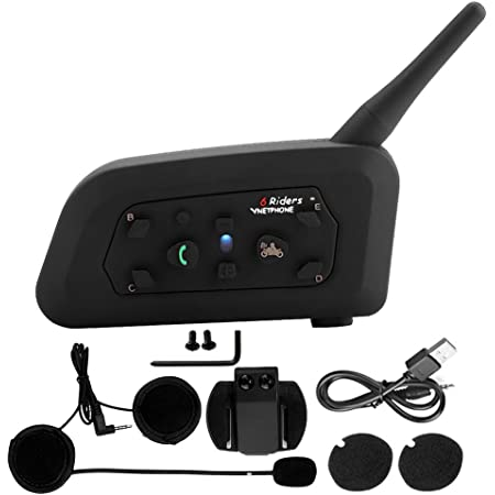 Vnetphone V6 1200 Bluetooth Motorrad Interphone 1200m Vollduplex Intercom Wireless Headset Für 6 Fahrer Auto