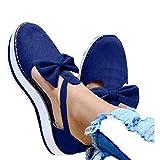 Aniywn Espadrille Platform Sandals, Women's Ankle Straps Wedges Sandals Casual Summer Closed Toe Sandals Blue