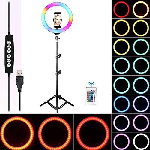 "Queta Lámpara anular Ring Light RGB Ring Light para TIK Tok Youtube Selfie Video Vlog, 10"" Ring Light Control Remoto inalámbrico 170cm, 15 Colores y 3 Modos de iluminación, 10 Niveles de Brillo"