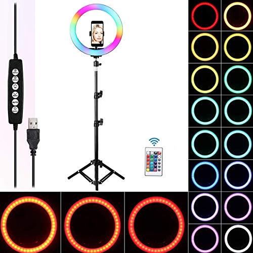 Queta Lámpara anular Ring Light RGB Ring Light para TIK Tok Youtube Selfie Video Vlog, 10' Ring Light Control Remoto inalámbrico 170cm, 15 Colores y 3 Modos de iluminación, 10 Niveles de Brillo
