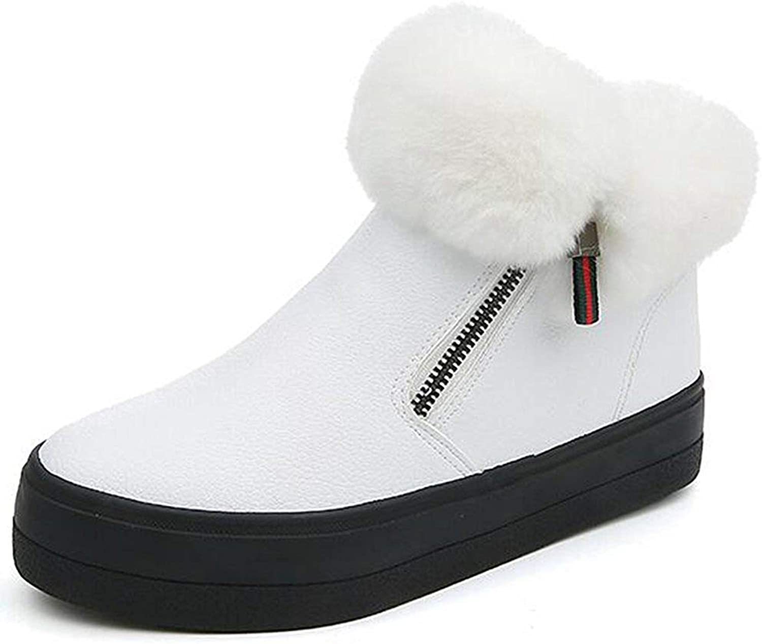 Ghssheh Women's Warm Faux Fur Side Zipper Platform Sneakers Flats Fleece Lined Ankle Snow Boots shoes White 7.5 M US