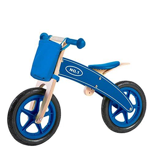 WOOMAX - Bicicleta madera sin pedales, bicis con cesta, bicicletas de madera, bici niño sin pedales, bici para niños 3 años, color azul, peso máximo 30 Kg, +3 años (85102)