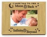 Chris Bag Of Goodies I Love You To The Moon And Back To Infinity And Beyond Landscape 6x4 Wooden Photo Picture Frame Romantic Gifts For Birthday Her Him My Boyfriend Girlfriend