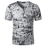 Mr.BaoLong&Miss.GO T-Shirt Décontracté à La Mode pour Hommes T-Shirt Ample à Manches Courtes Et à Manches Courtes à Imprimé Dégradé Mince