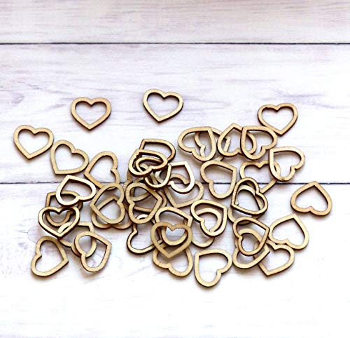 100pcs Wooden Heart Confetti Rustic Scatter Hearts Wedding Table Decoration Crafting